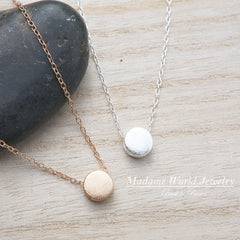 Matte Textured Circle Slider Pendant Necklace