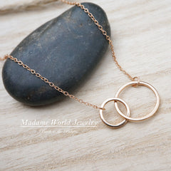 Sterling Silver Interlocking Circle Necklace, Karma Necklace, Intersecting Circles, Eternity Necklace