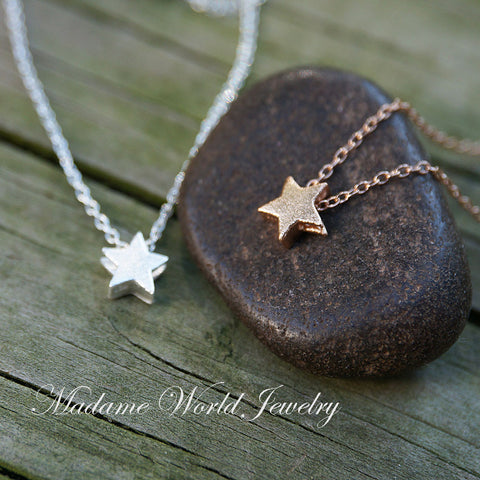 Matte Textured Star Slider Pendant Necklace