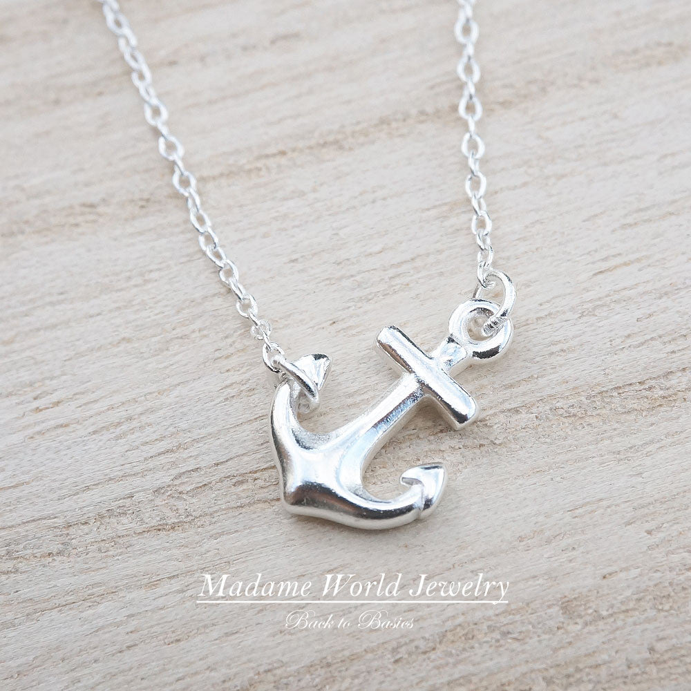 Plain Sideways Anchor Necklace