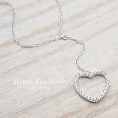 Sterling Silver Clear CZ Open Heart Y Necklace