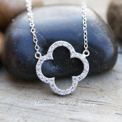 Pave Cubic Zirconia Four Leaf Clover Necklace