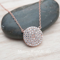 Pave Clear CZ Circle Pendant Necklace