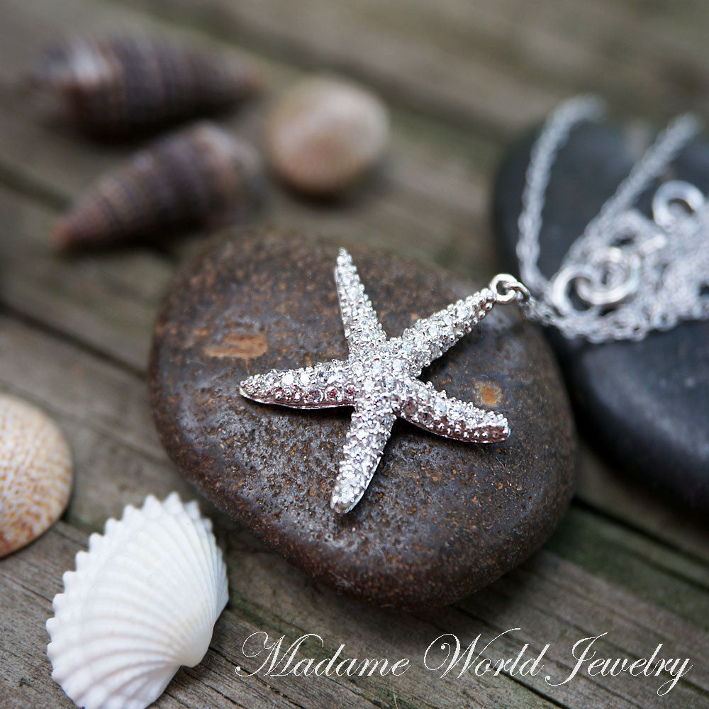 Pave Clear Cubic Zirconia Starfish Necklace