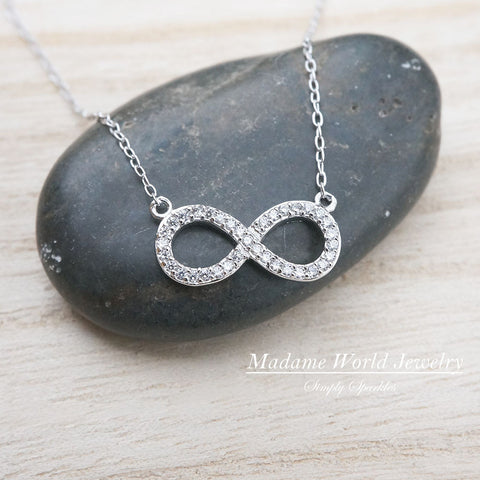 Clear Cubic Zirconia Sideways Infinity Necklace