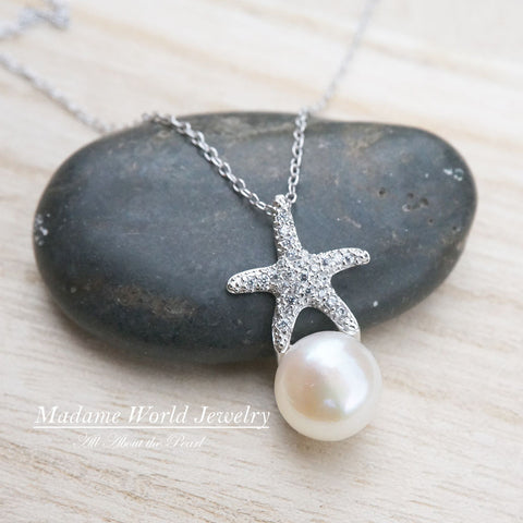 Freshwater Pearl Clear Cubic Zirconia Starfish Necklace