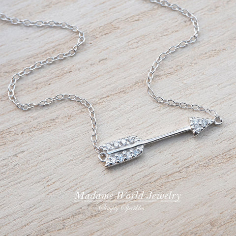 Clear Cubic Zirconia Sideways Arrow Necklace