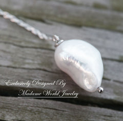 Freshwater Pearl with Clear Cubic Zirconia Y Necklace