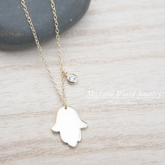 Plain Hamsa Hand with Clear CZ Drop Charm Necklace