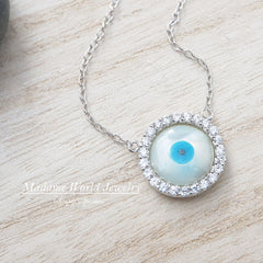 Two Sided Evil Eye Necklace (CZ and plain), Reversible