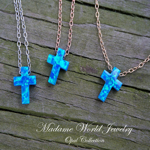 Reconstitute Blue Opal Cross Slider Necklace