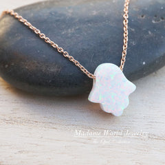 Reconstitute White Opal Hamsa Hand Necklace