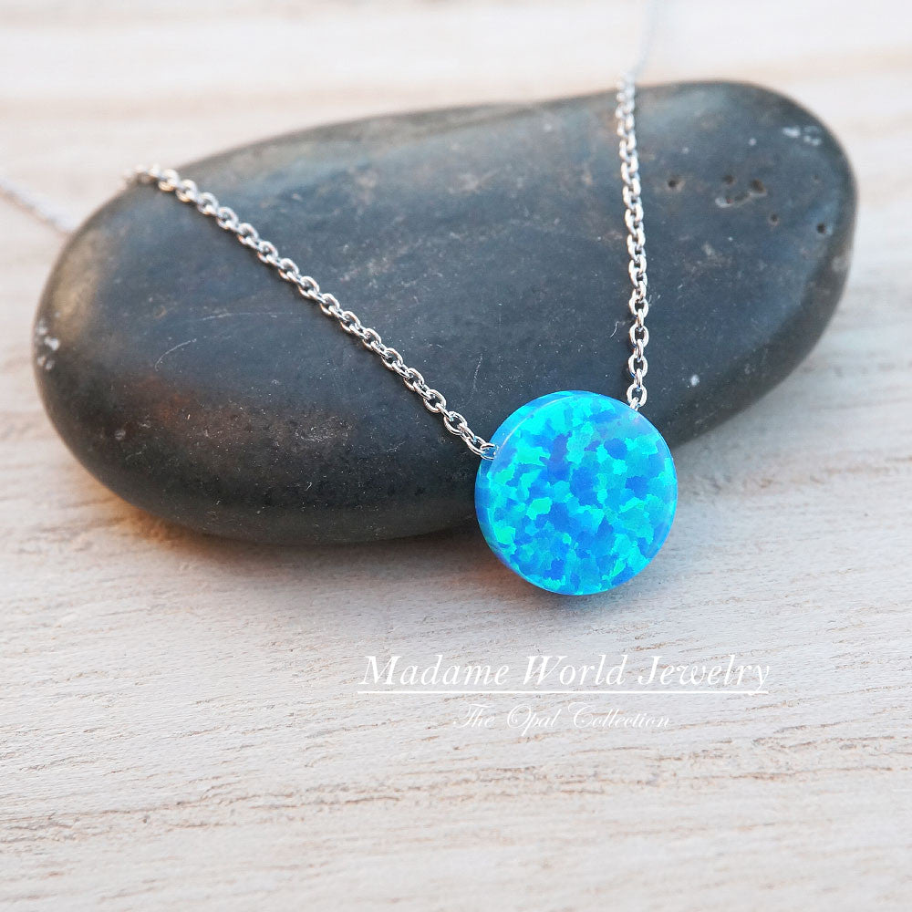 Reconstitute Blue Opal Circle Slider Necklace