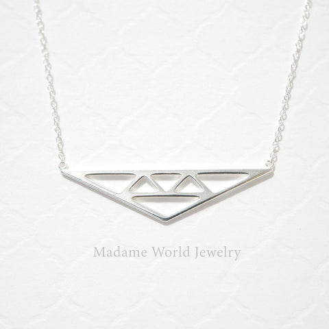 Plain Geometric Triangles Necklace