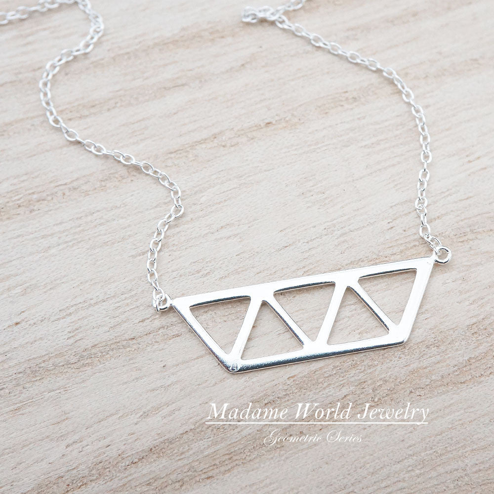 Sterling Silver Half Hexagon with Triangles Necklace
