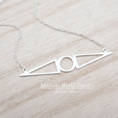 Sterling Silver Triangle & Circle Abstract Necklace