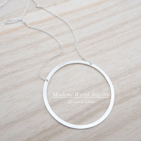 Sterling Silver 36MM Open Circle Necklace