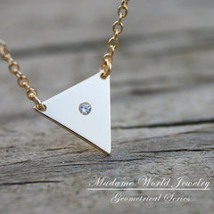 Gold Vermeil Triangle Disk with Clear Cubic Zirconia Necklace