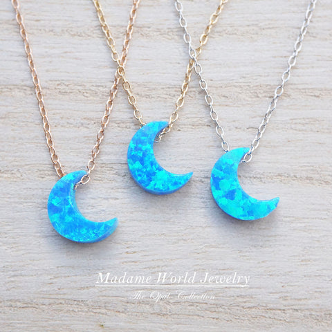 Reconstituted Blue Opal Crescent Moon Slider Necklace