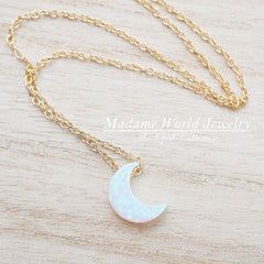 Reconstituted White Opal Crescent Moon Slider Necklace