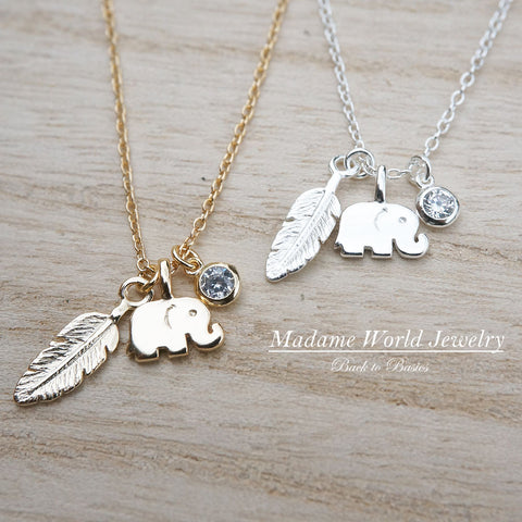 Plain Baby Elephant, Feather & Bezel Clear CZ Charm Necklace