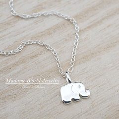 Dainty Tiny Baby Elephant Necklace, Sterling Silver Minimalist, Simple, Delicate Jewelry, Good Luck Elephant, Good Luck Amulet
