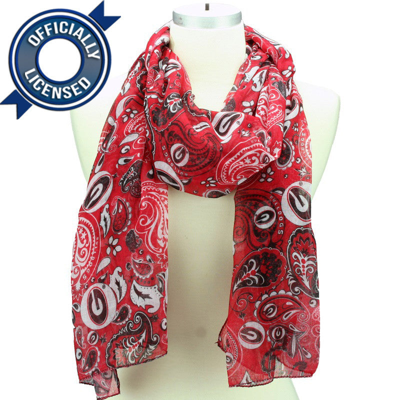 Officially Licensed Georgia Paisley Scarf