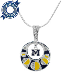 Officially Licensed Michigan Wolverines Moon Necklace