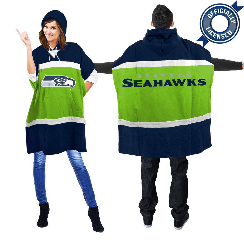 Officially Licensed Seattle Seahawks Hoodie Scarf Poncho