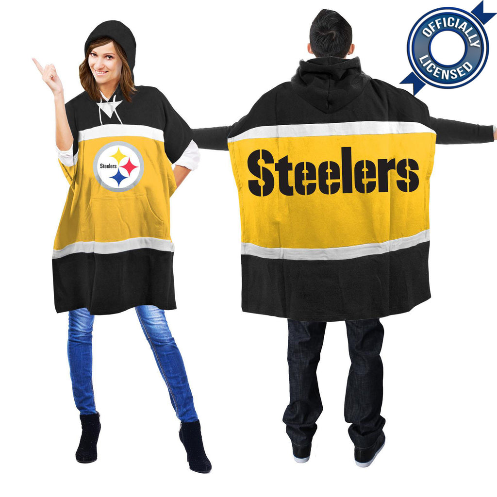 Officially Licensed Pittsburgh Steelers Hoodie Scarf Poncho