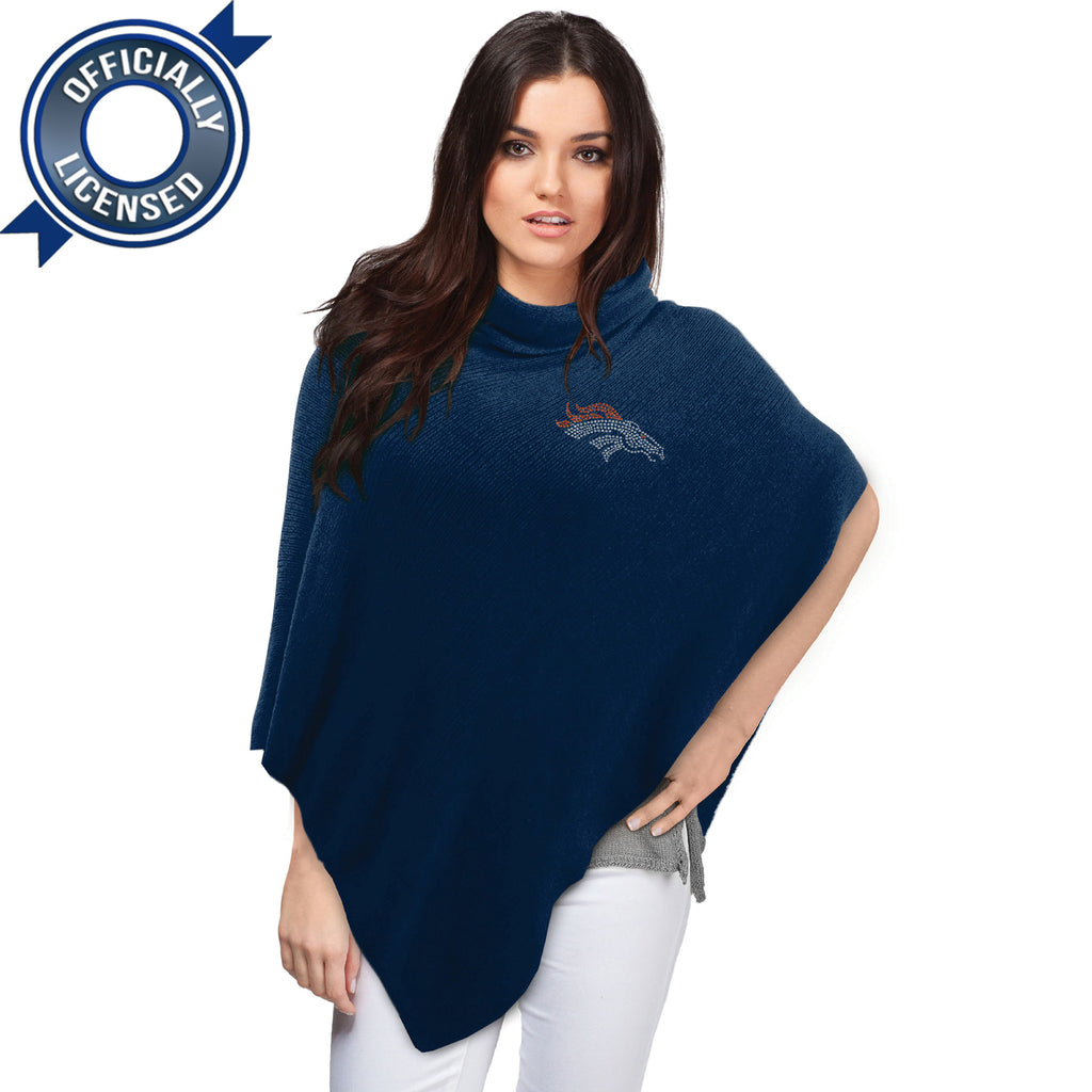Officially Licensed Denver Broncos Navy Crystal Knit Poncho