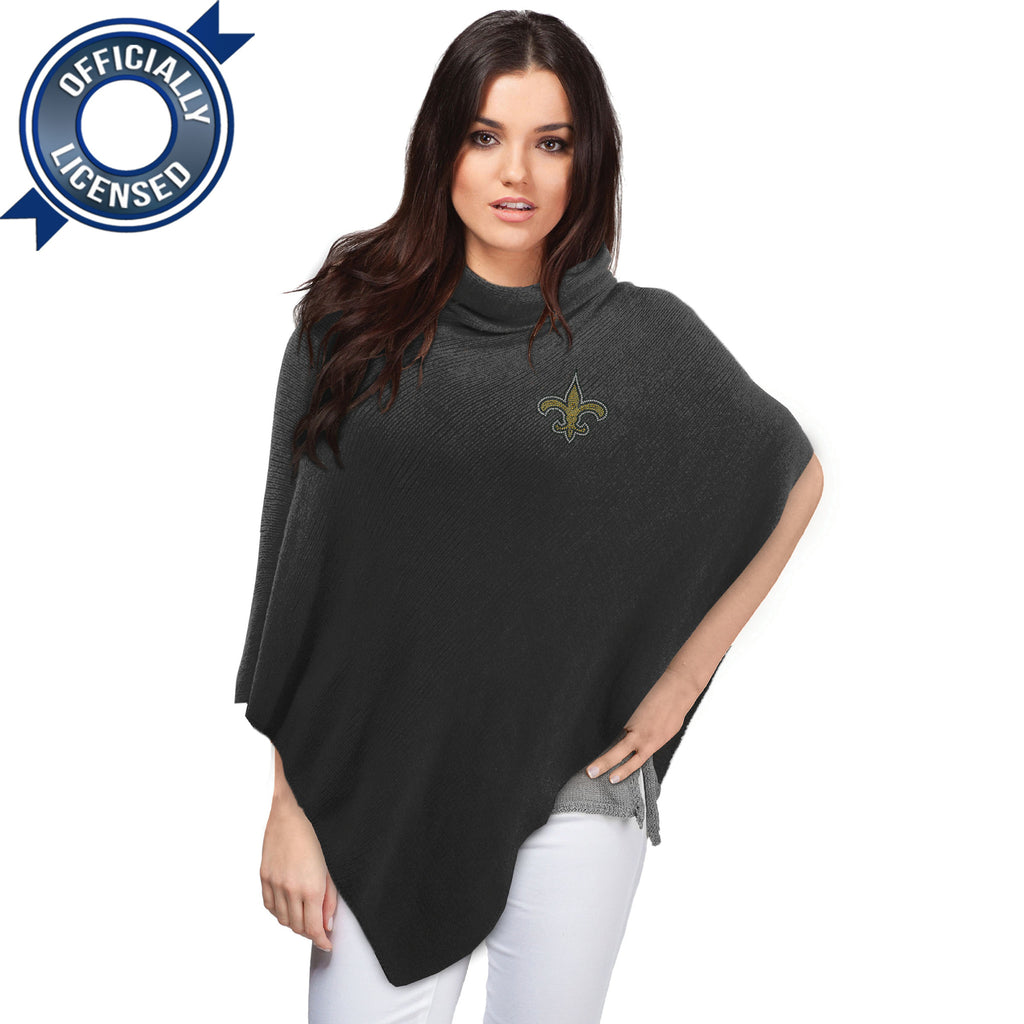 Officially Licensed New Orleans Saints Black Crystal Knit Poncho