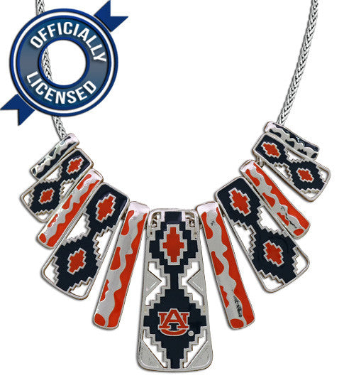 Officially Licensed Auburn Aztec Print Necklace