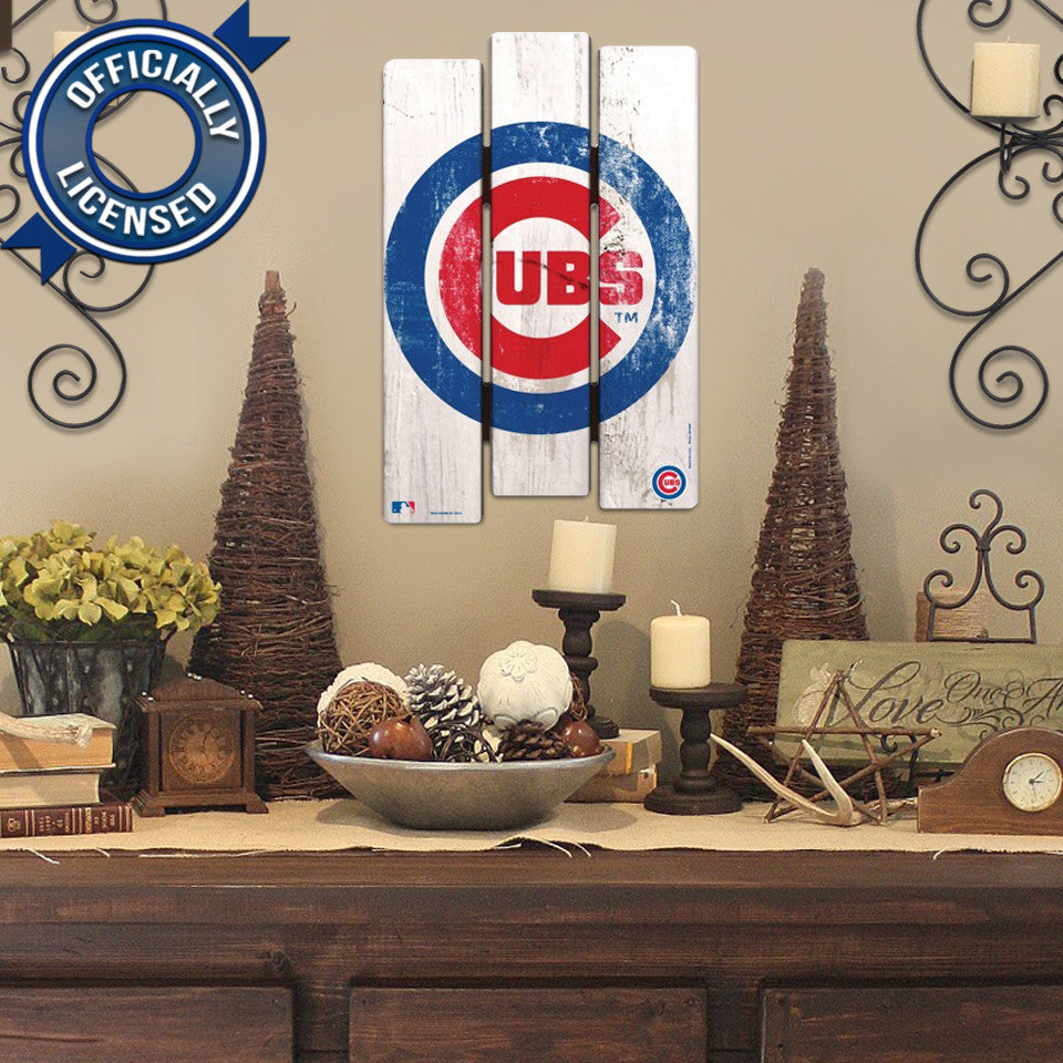 Officially Licensed Chicago Cubs Wood Fence Sign