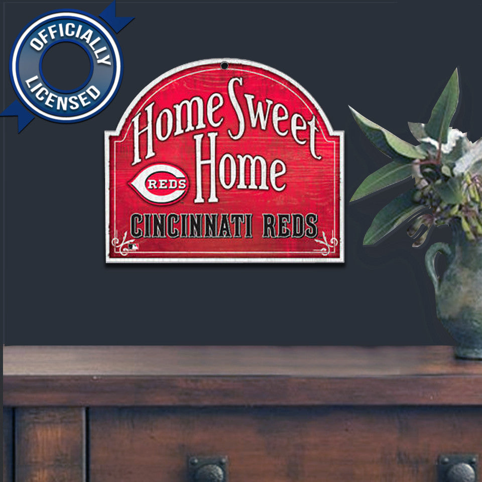 Officially Licensed Cincinnatti Reds Home Sweet Home Sign