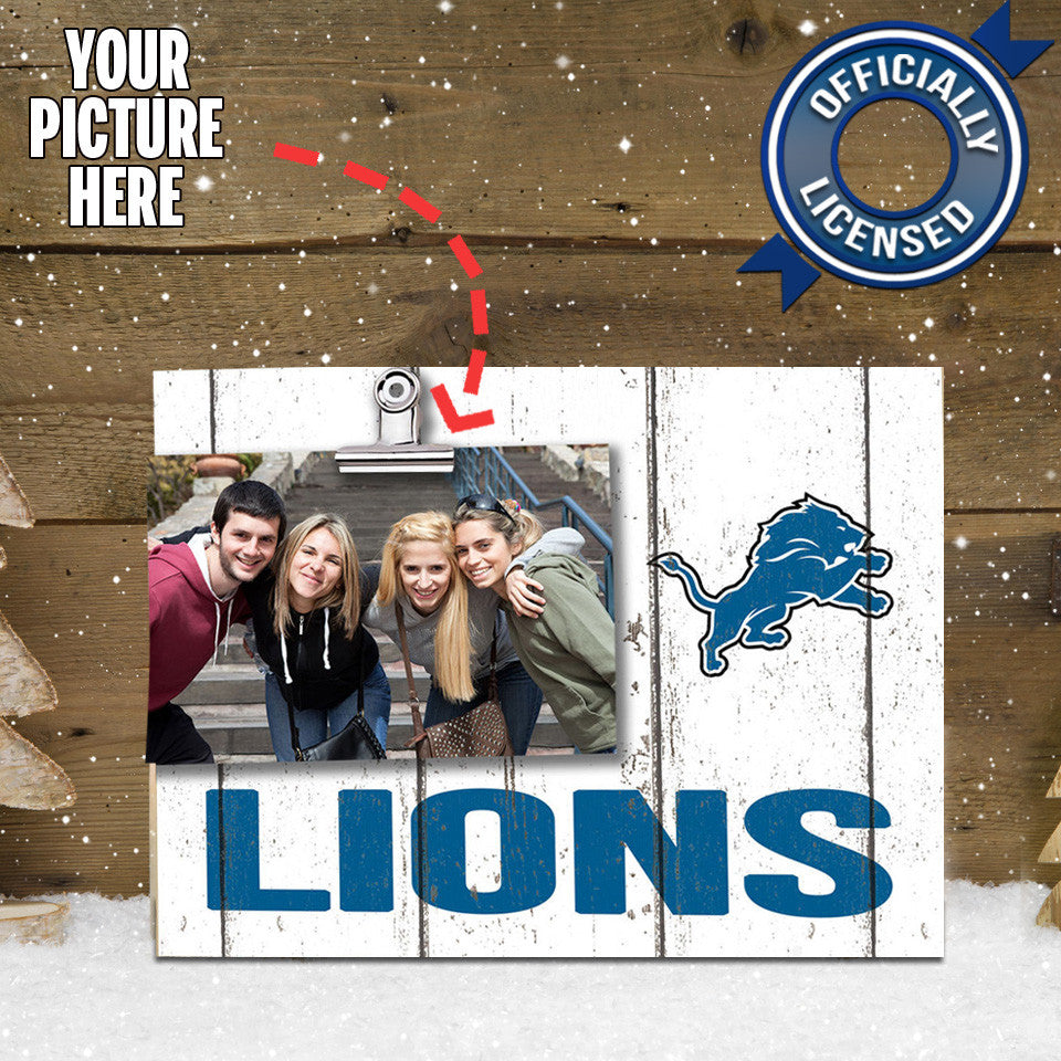 Officially Licensed Detroit Lions Weathered Logo Photo Frame