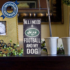 Officially Licensed New York Jets Football and Dog Sign