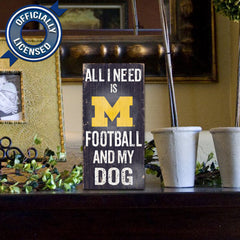 Officially Licensed Michigan Football and Dog Sign