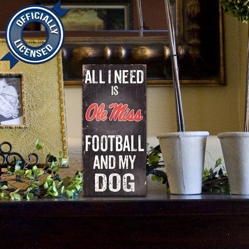 Officially Licensed Mississippi Rebels Football and Dog Sign