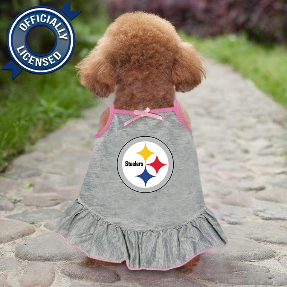 Officially Licensed Pittsburgh Steelers Pet Dress Gray