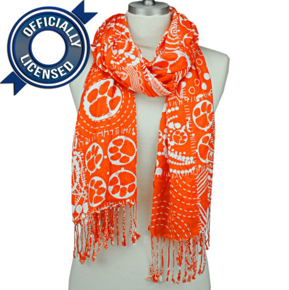 Officially Licensed Clemson Mixed Print Scarf