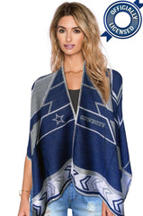 Whipstitch Scarf Poncho - Officially Licensed Dallas Cowboys Lightweight Scarf Poncho