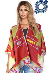 Whipstitch Scarf Poncho - Officially Licensed Kansas City Chiefs Lightweight Scarf Poncho
