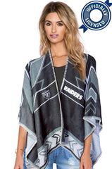 Whipstitch Scarf Poncho - Officially Licensed Oakland Raiders Lightweight Scarf Poncho