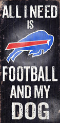 Wood Sign - Officially Licensed Buffalo Bills Football And Dog Sign