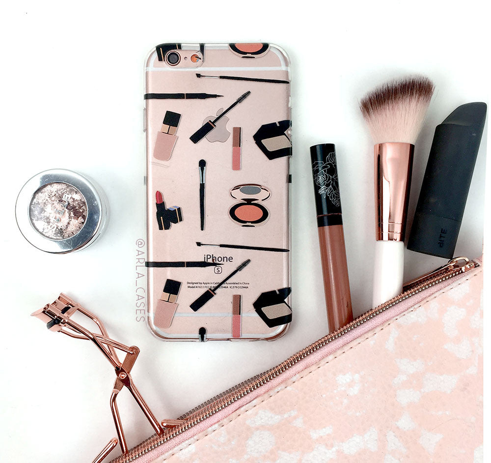Makeup Kit Pattern - Clear Printed TPU Phone Case with Makeup Pattern
