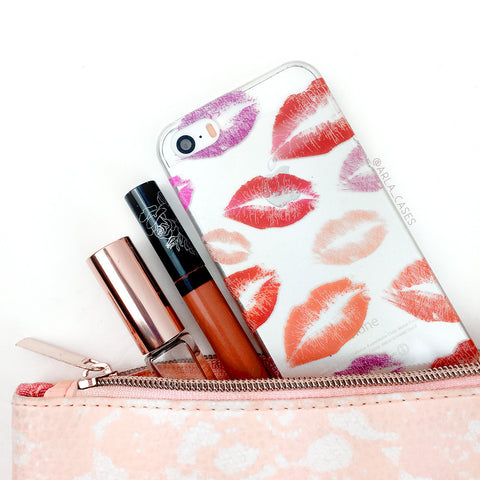 Red Pink Lipstick Marks Phone Case - Clear Printed TPU Kisses Phone Case