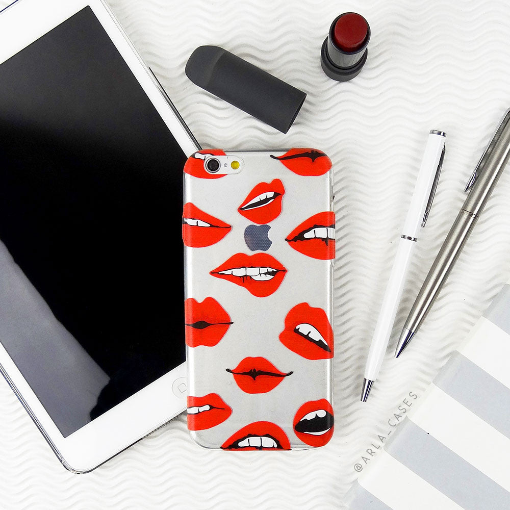 Red Lips on Clear Printed iPhone Case
