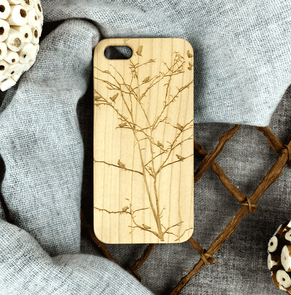 Winter Tree with Birds Wood Phone Case