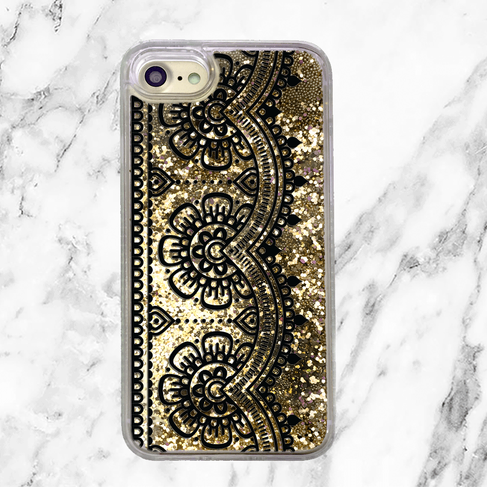 Black Lace Gold Glitter Phone Case